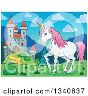 Clipart Of A Cartoon Castle And White And Pink Unicorn Royalty Free Vector Illustration by visekart