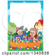 Clipart Of A Cartoon Border Of A Hispanic Boy And White Girl Playing In A Ball Pit Royalty Free Vector Illustration by visekart