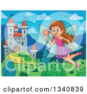 Clipart Of A Cartoon Brunette White Female Fairy Flying With A Flower Over A Castle Royalty Free Vector Illustration