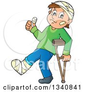 Cartoon Injured Caucasian Man Or Boy Walking With A Crutch