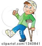 Cartoon Injured Caucasian Man Or Boy Walking With A Crutch