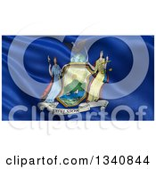 Clipart Of A 3d Rippling State Flag Of New York USA Royalty Free Illustration