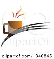 Clipart Of A Steaming Hot Coffee Cup On Swooshes Royalty Free Vector Illustration
