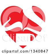 Clipart Of A Steaming Hot Coffee Cup In A Red Heart Royalty Free Vector Illustration by ColorMagic
