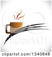 Clipart Of A Steaming Hot Coffee Cup On Swooshes Over Shading Royalty Free Vector Illustration