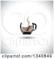 Clipart Of A Steaming Hot Coffee Cup Over Shading Royalty Free Vector Illustration by ColorMagic