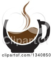 Clipart Of A Steaming Hot Coffee Cup Royalty Free Vector Illustration