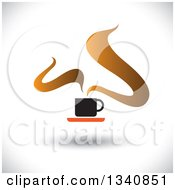 Clipart Of A Steaming Hot Coffee Cup On A Saucer Over Shading Royalty Free Vector Illustration
