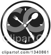 Clipart Of A Black And White Wall Clock With Silverware Hands Royalty Free Vector Illustration
