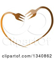 Clipart Of A Gradient Heart Made Of Bent Forks Royalty Free Vector Illustration