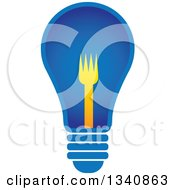Clipart Of A Blue Light Bulb With A Yellow Fork Filament Royalty Free Vector Illustration by ColorMagic