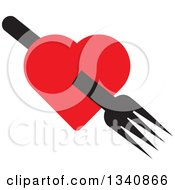 Clipart Of A Black Fork Through A Red Heart Royalty Free Vector Illustration