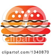 Clipart Of A Black White And Orange Cheeseburger Royalty Free Vector Illustration