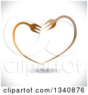 Clipart Of A Gradient Heart Made Of Bent Forks Over Shading Royalty Free Vector Illustration by ColorMagic