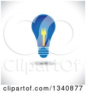 Clipart Of A Floating Blue Light Bulb With A Yellow Fork Filament Over Shading Royalty Free Vector Illustration by ColorMagic