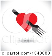 Clipart Of A Floating Black Fork Through A Red Heart Over Shading Royalty Free Vector Illustration