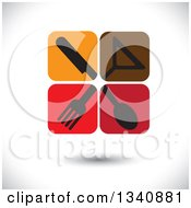 Clipart Of Floating Icon Tiles With Silhouetted Silverware And A Cocktail Glass Over Shading Royalty Free Vector Illustration by ColorMagic