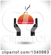 Clipart Of Hands Holding A Steamy Hot Cloche Platter Over Shading Royalty Free Vector Illustration