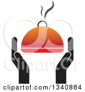 Clipart Of Hands Holding A Steamy Hot Cloche Platter Royalty Free Vector Illustration