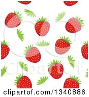 Clipart Of A Seamless Strawberry Fruit And Green Top Background Royalty Free Vector Illustration