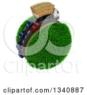 Clipart Of A 3d Roadway With A Big Rig Truck Transporting Boxes And Cars Driving Around A Grassy Planet On White Royalty Free Illustration