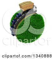 3d Roadway With A Big Rig Truck Transporting Boxes And Cars Driving Around A Grassy Planet On White 2