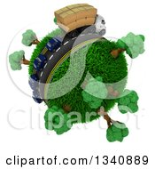 Clipart Of A 3d Roadway With A Big Rig Truck Transporting Boxes And Cars Driving Around A Grassy Planet With Trees On White Royalty Free Illustration
