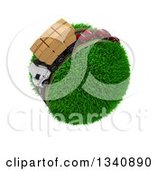 3d Roadway With A Big Rig Truck Transporting Boxes And Cars Driving Around A Grassy Planet On White 3