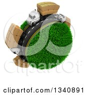Clipart Of A 3d Roadway With Big Rig Trucks Transporting Boxes Driving Around A Grassy Planet On White Royalty Free Illustration by KJ Pargeter