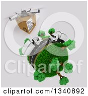 Clipart Of A 3d Delivery Drone And Roadway With Big Rig Trucks Transporting Boxes Driving Around A Grassy Planet With Trees On Shading Royalty Free Illustration by KJ Pargeter
