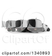 Clipart Of A 3d Rear View Of A Group Of White Big Rig Trucks With Empty Containers On Shaded White Royalty Free Illustration