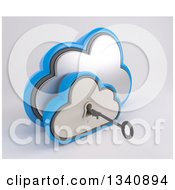 Clipart Of A 3d Silver And Blue Cloud Drive Icon With A Key And Hole On Off White Royalty Free Illustration by KJ Pargeter