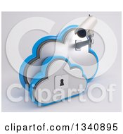 Clipart Of A 3d White HD CCTV Security Surveillance Camera Mounted On Cloud Icon With A Key Hole On Off White Royalty Free Illustration