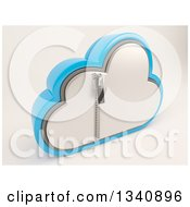 Clipart Of A 3d Silver And Blue Zipped Secured Cloud Drive Icon On Off White 2 Royalty Free Illustration