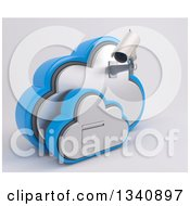Clipart Of A 3d White HD CCTV Security Surveillance Camera Mounted On Cloud Icon With A Filing Cabinet On Off White Royalty Free Illustration by KJ Pargeter