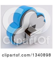 Clipart Of A 3d Cloud Icon With An Empty A Filing Cabinet On Off White Royalty Free Illustration