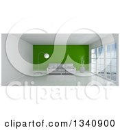 Clipart Of A 3d Empty Room Interior With Floor To Ceiling Windows Furniture And A Green Feature Wall Royalty Free Illustration
