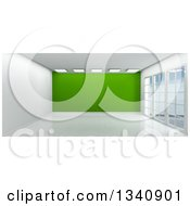 Clipart Of A 3d Empty Room Interior With Floor To Ceiling Windows White Flooring And A Green Feature Wall Royalty Free Illustration