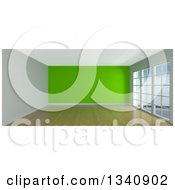 Clipart Of A 3d Empty Room Interior With Floor To Ceiling Windows Wooden Flooring And A Green Feature Wall Royalty Free Illustration