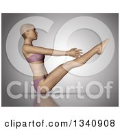 Clipart Of A 3d Fit Caucasian Woman In A Yoga Pose On Gray 5 Royalty Free Illustration