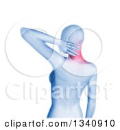 Clipart Of A 3d Blue Anatomical Woman With Glowing Neck Pain Over White Royalty Free Illustration