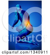 Clipart Of A 3d Anatomical Man Kneeling On The Floor With Visible Skeleton And Glowing Pain On Blue 2 Royalty Free Illustration