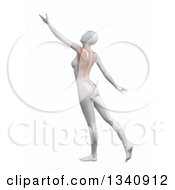 Clipart Of A 3d White Anatomical Woman Reaching With Visible Back Muscles On Shaded White Royalty Free Illustration