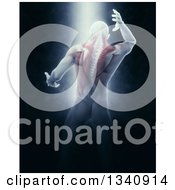 Clipart Of A 3d Rear View Of A Medical Anatomical Male Reaching Back With Visible Muscles On Black With Shining Light Royalty Free Illustration
