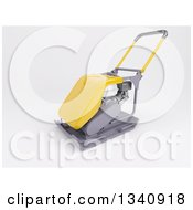 Clipart Of A 3d Yellow Compactor Machine On Shaded White Royalty Free Illustration