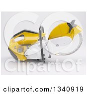 Clipart Of A 3d Cut Off Saw On Shaded White Royalty Free Illustration