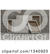 Clipart Of 3d Blank Art Canvases On Wood Over Bricks 4 Royalty Free Illustration