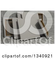 Clipart Of 3d Blank Art Canvases On Wood Over Bricks 5 Royalty Free Illustration