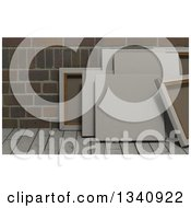 Clipart Of 3d Blank Art Canvases On Wood Over Bricks 6 Royalty Free Illustration