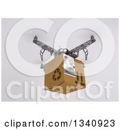 Clipart Of A 3d Metal Quadcopter Drone Flying With A Box On Shading Royalty Free Illustration by KJ Pargeter